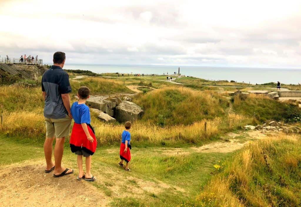 family at pointe du hoc in france
