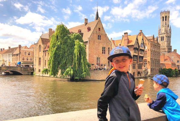 boy with ice cream in Bruges