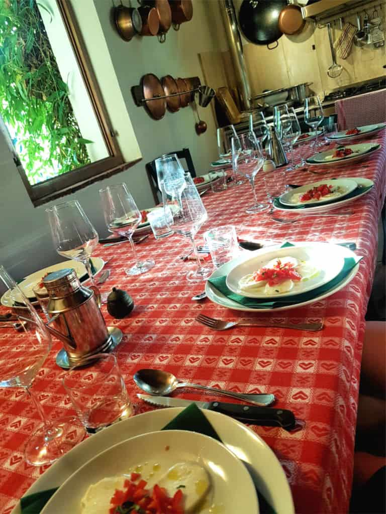 Family style dinner with wine