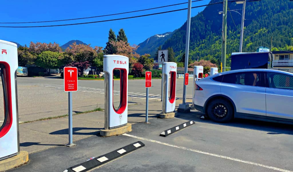 Tesla Super Charging Station road trip to Vancouver with kids