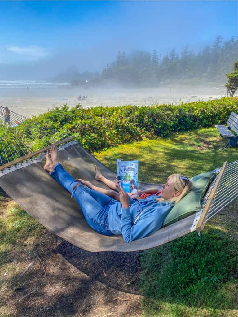 reading in a hammock in pacific sands resort