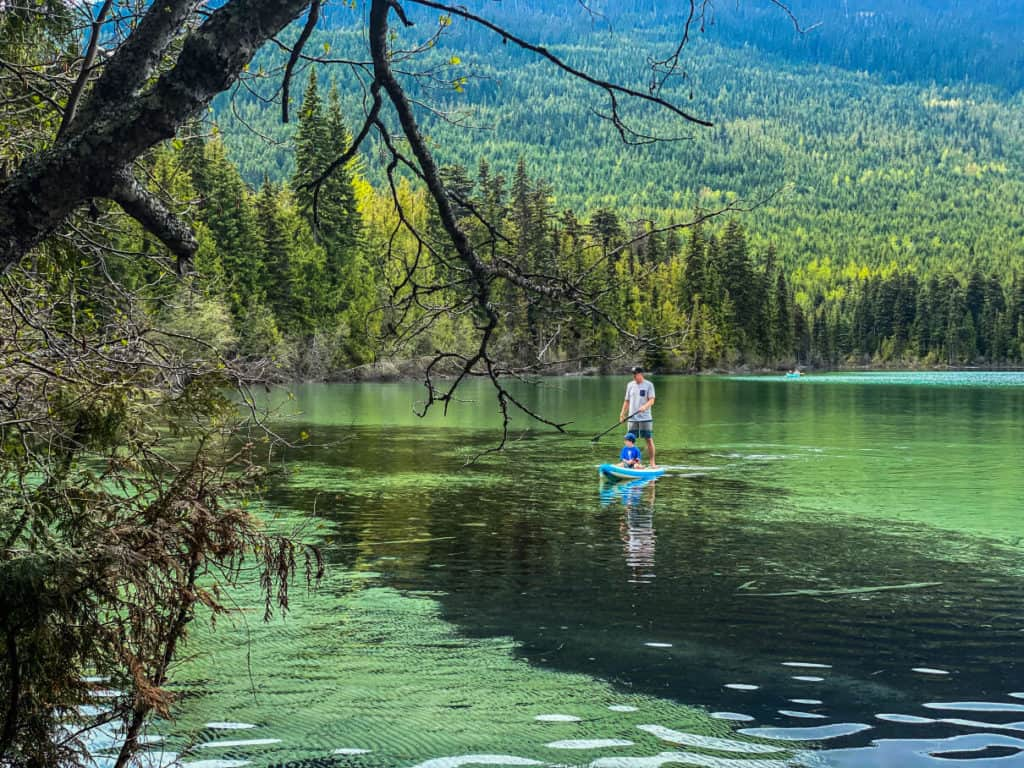 father and son paddle boarding