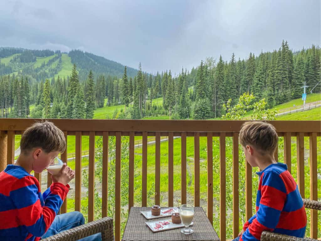Dessert with a view at Sun Peaks Grand Hotel