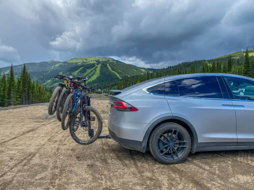 Our Tesla and mountain bikes at Sun Peaks