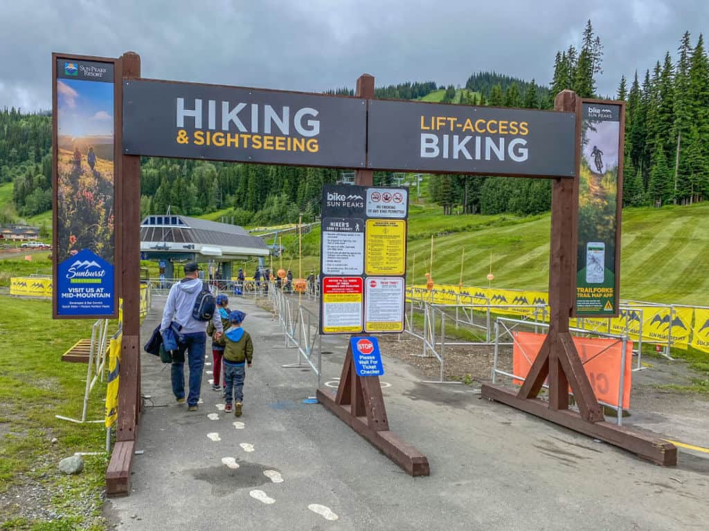 Entrance to hiking and biking at Sun Peaks
