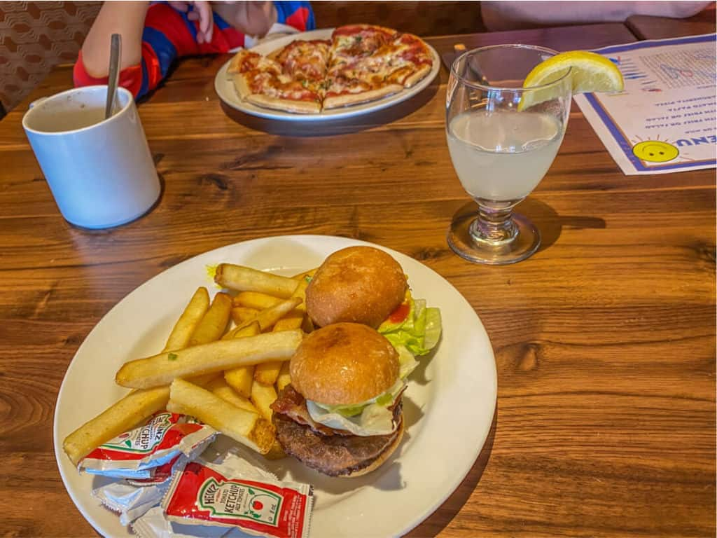 sliders and pizza from kids menu