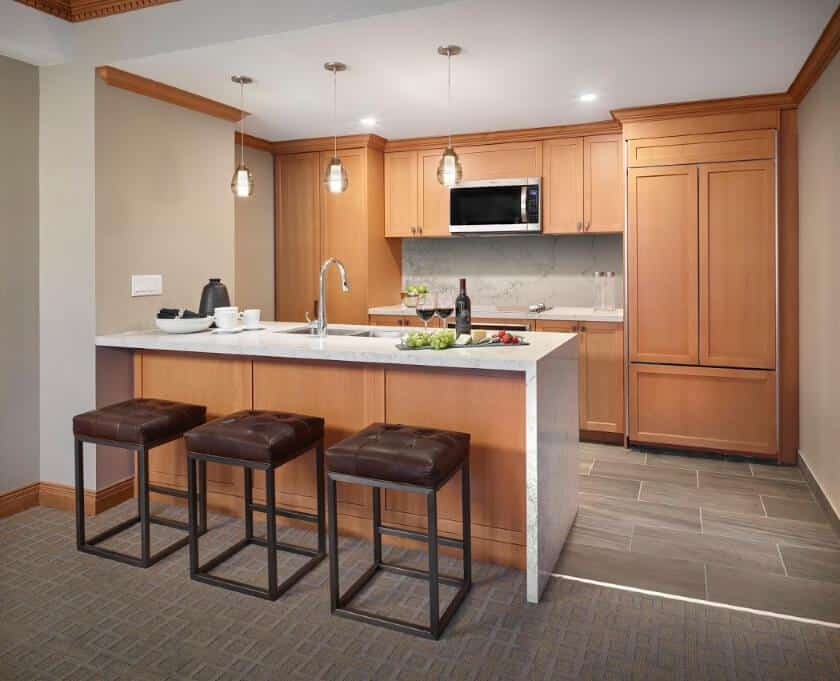Large kitchen in the suites at sun Peaks grand