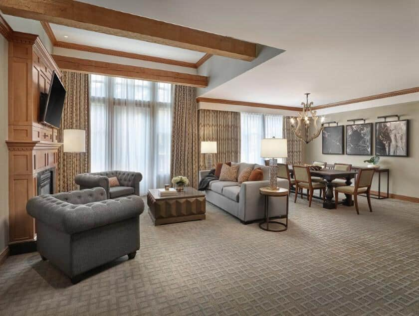 Large entertaining area in the mountain suite