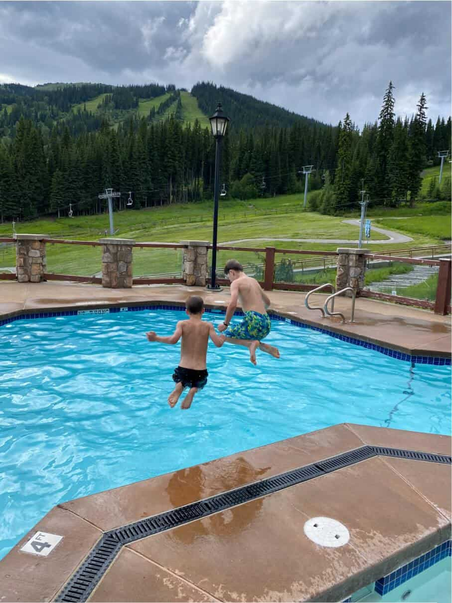 Cannonballs in the pool at Sun Peaks Grand