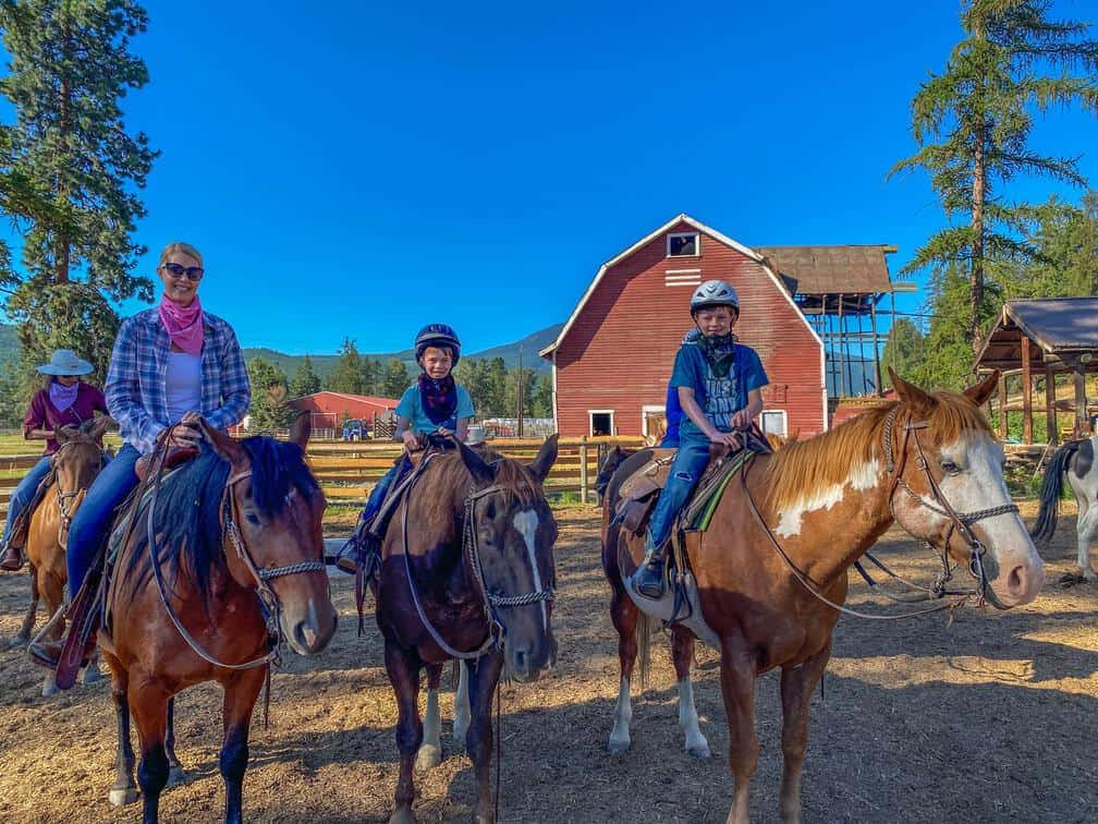 on our horses for our first trail ride