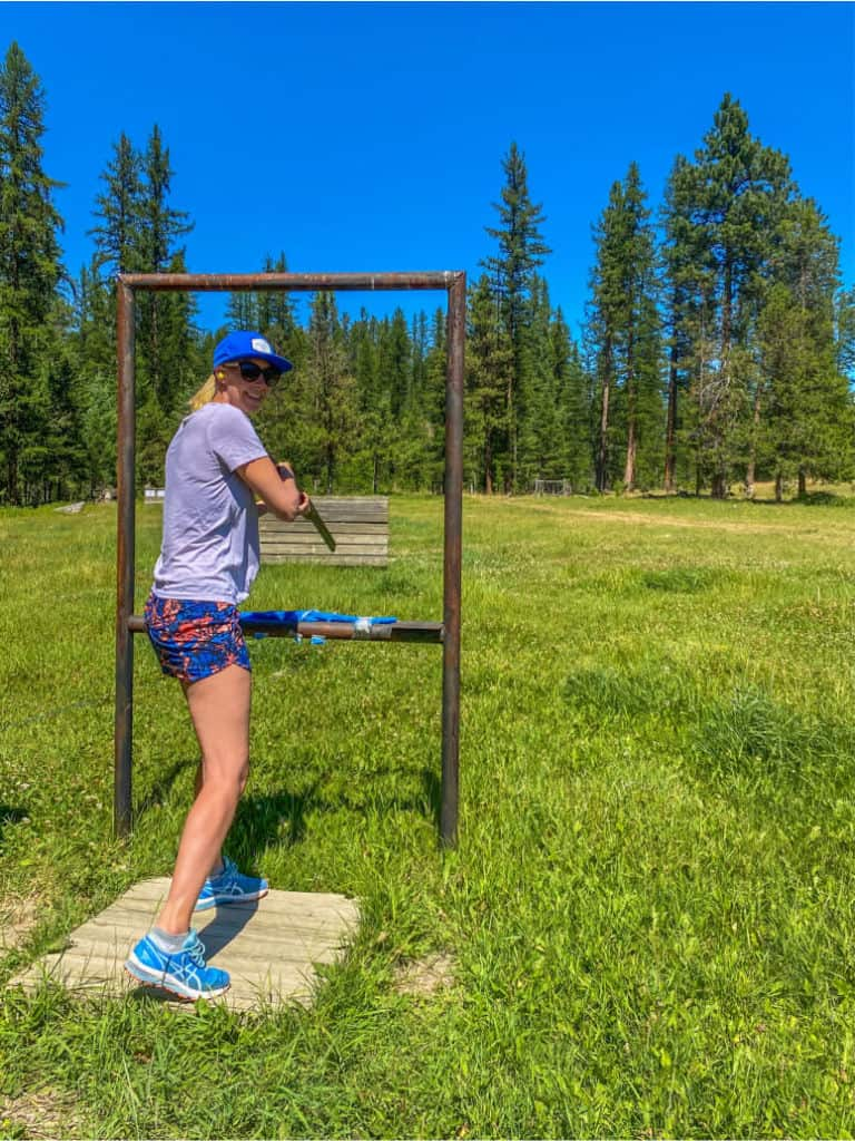 target shooting on the range at three bars guest ranch