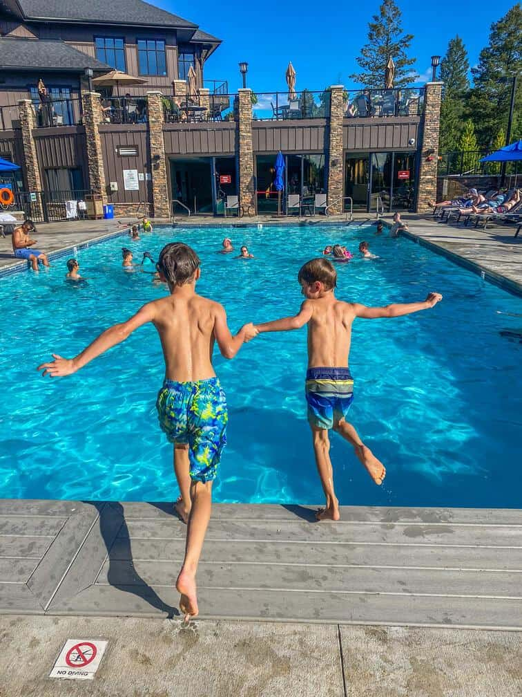 jumping in the pool at copper point resort