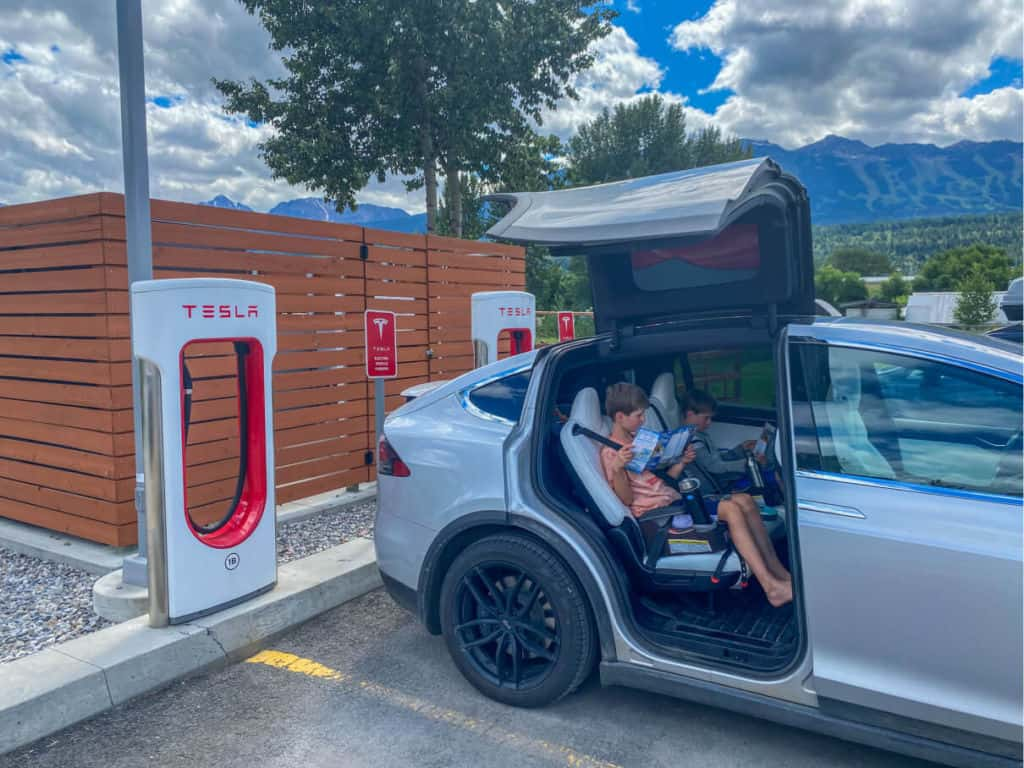 charging our Tesla in Golden, BC