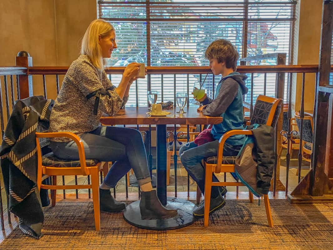 mom and son at restaurant