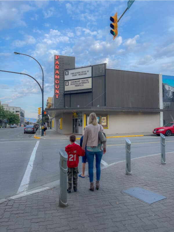 family outside movie theatre in kamloops
