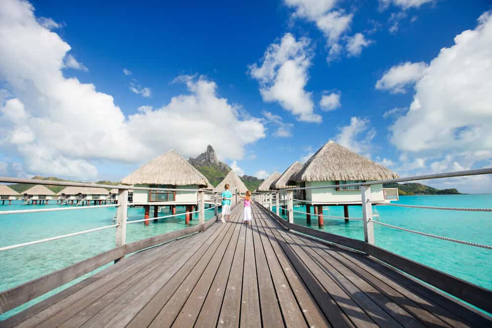 kids on deck to overwater bungalows